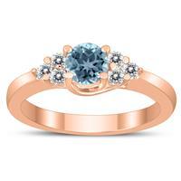 5MM Aquamarine and Diamond Cynthia Ring in 10K Rose Gold