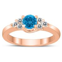 5MM Blue Topaz and Diamond Cynthia Ring in 10K Rose Gold
