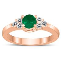 5MM Emerald and Diamond Cynthia Ring in 10K Rose Gold