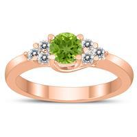5MM Peridot and Diamond Cynthia Ring in 10K Rose Gold