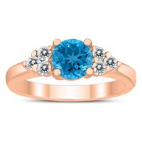 6MM Blue Topaz and Diamond Cynthia Ring in 10K Rose Gold