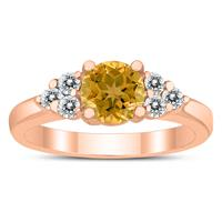 6MM Citrine and Diamond Cynthia Ring in 10K Rose Gold