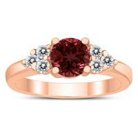 6MM Garnet and Diamond Cynthia Ring in 10K Rose Gold