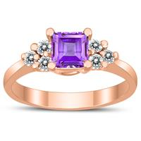 Princess Cut 5X5MM Amethyst and Diamond Duchess Ring in 10K Rose Gold