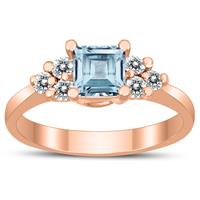 Princess Cut 5X5MM Aquamarine and Diamond Duchess Ring in 10K Rose Gold