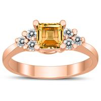 Princess Cut 5X5MM Citrine and Diamond Duchess Ring in 10K Rose Gold