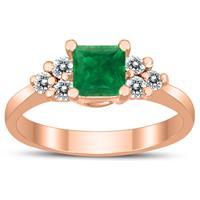 Princess Cut 5X5MM Emerald and Diamond Duchess Ring in 10K Rose Gold