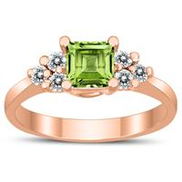 Princess Cut 5X5MM Peridot and Diamond Duchess Ring in 10K Rose Gold