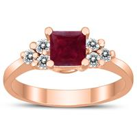 Princess Cut 5X5MM Ruby and Diamond Duchess Ring in 10K Rose Gold