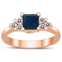 Princess Cut 5X5MM Sapphire and Diamond Duchess Ring in 10K Rose Gold