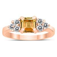 Princess Cut 6X6MM Citrine and Diamond Duchess Ring in 10K Rose Gold
