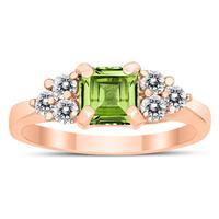 Princess Cut 6X6MM Peridot and Diamond Duchess Ring in 10K Rose Gold