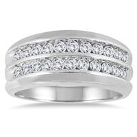 1 Carat TW Men's Diamond Double Row Channel Ring in 10K White Gold