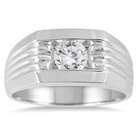 AGS Certified 3/4 Carat Men's Diamond Solitaire Ring in 10K White Gold (I-J Color, I2-I3 Clarity)