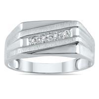 1/10 Carat TW Men's Diamond Ring in 10K White Gold