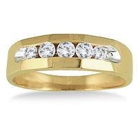 Five Diamonds Angles Men's Ring 14k Yellow Gold