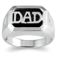 Onyx & Diamond DAD Ring 10k White Gold