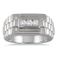 1/4 Carat TW Men's Diamond Rolex Ring in 10K White Gold