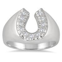 1/4 Carat TW Horseshoe Diamond Men's Ring in 10K White Gold