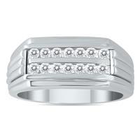 1/2 Carat TW Diamond Men's Double Row Channel Set Ring in 10K White Gold