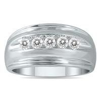 1/2 Carat TW Five Stone Diamond Men's Ring in 10K White Gold(K-L Color, I2-I3 Clarity)
