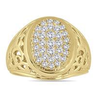 1 Carat TW Engraved Men's Diamond Ring In 10K Yellow Gold