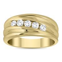1/2 Carat TW Five Stone Diamond Men's Ring in 10K Yellow Gold
