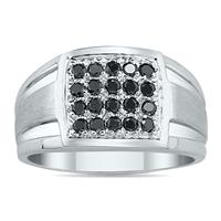 1/2 Carat TW Black Diamond Men's Ring in 10k White Gold