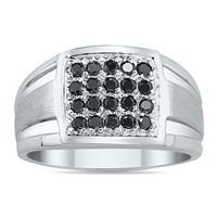 1/2 Carat TW Black Diamond Men's Ring in 10k White Gold