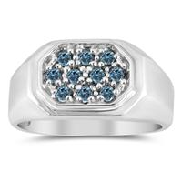 Blue Diamond Men's Ring in 10k White Gold
