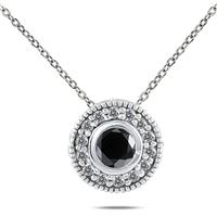 1/3 Carat TW Black and White Diamond Pendant in 10K White Gold