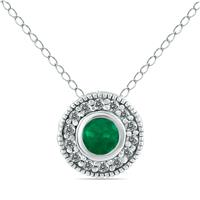 1/6 Carat TW Diamond and Emerald Pendant in 10K White Gold
