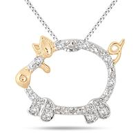 18K Yellow Gold Plated 1/10 Carat Diamond Piglet Pendant in .925 Sterling Silver