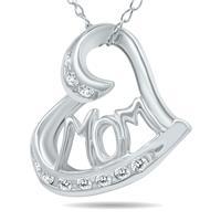 1/10 Carat TW MOM Diamond Heart Pendant 10K White Gold