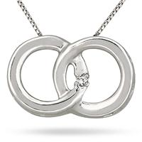 Diamond Circle Link Pendant in 10K White Gold