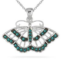 1/5 Carat TW Blue Diamond Butterfly Pendant in 10K White Gold