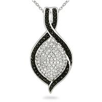 3/4 Carat TW Black and White Diamond Pendant in 14K White Gold