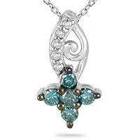1/4 Carat Blue and White Diamond Flower Pendant in 10K White Gold