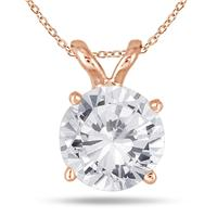 1 Carat Diamond Solitaire Pendant in 14K Rose Gold