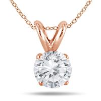 1/2 Carat Diamond Solitaire Pendant in 10K Rose Gold