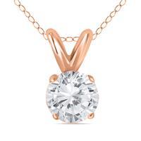 1/2 Carat Diamond Solitaire Pendant in 10K Rose Gold