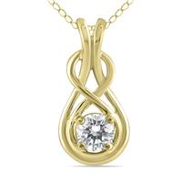 1/2 Carat Diamond Knot Pendant in 10K Yellow Gold