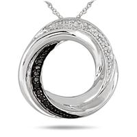 Deals on Black and White Diamond Infinity Circle Pendant in .925 Sterling Silver