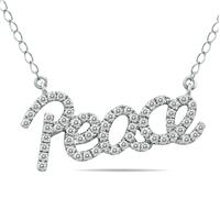 1/3 Carat Diamond PEACE Necklace in .925 Sterling Silver