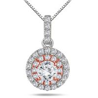 3/4 Carat TW Diamond Double Halo Pendant in Two Tone 14K Gold