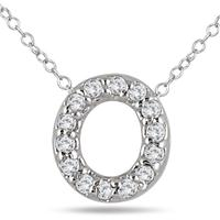 1/10 Carat TW O Initial Diamond Pendant in 10K White Gold