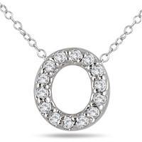 1/10 Carat TW O Initial Diamond Pendant in 10K White Gold