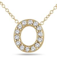 1/10 Carat TW O Initial Diamond Pendant in 10K Yellow Gold