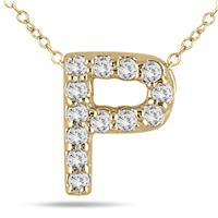1/10 Carat TW P Initial Diamond Pendant in 10K Yellow Gold