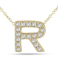 1/8 Carat TW R Initial Diamond Pendant in 10K Yellow Gold